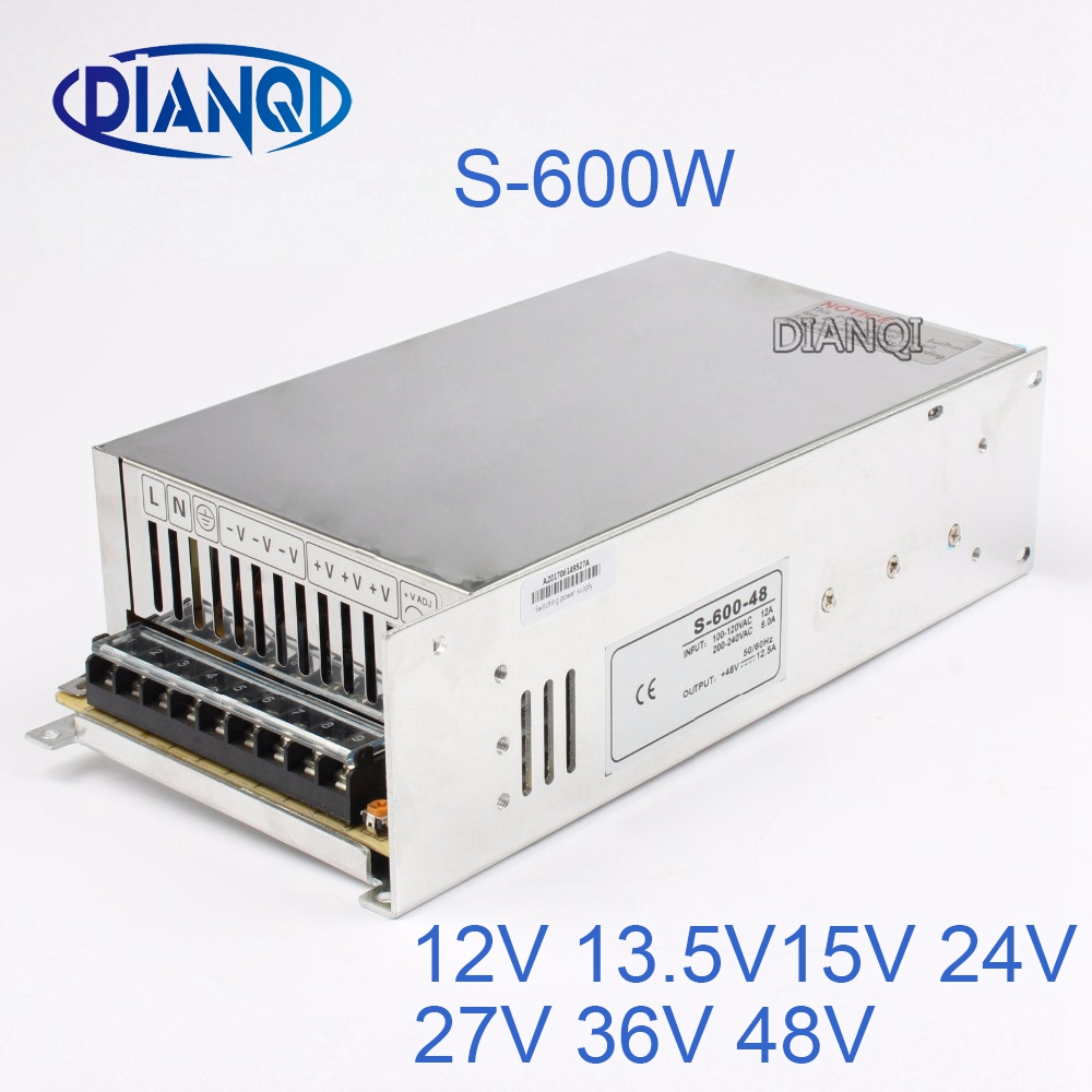 12V 15V 24V switching power supply 12.5A power suply 48v 600w ac to dc power supply Input 220v or 110V ac dc converter S-600-48 industrial and led used 800w 15v 53a switching power supply ac dc power supply input 110v or 220v power supply unit adapter 15v