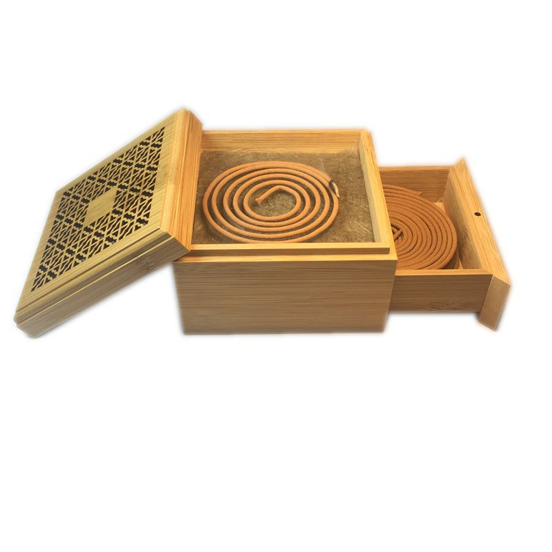 Vintage Exquisite Square Carve Patterns Bamboo Fragrance Incense Burner Double Layer Drawer Coil Incense Box Decoration Ornament