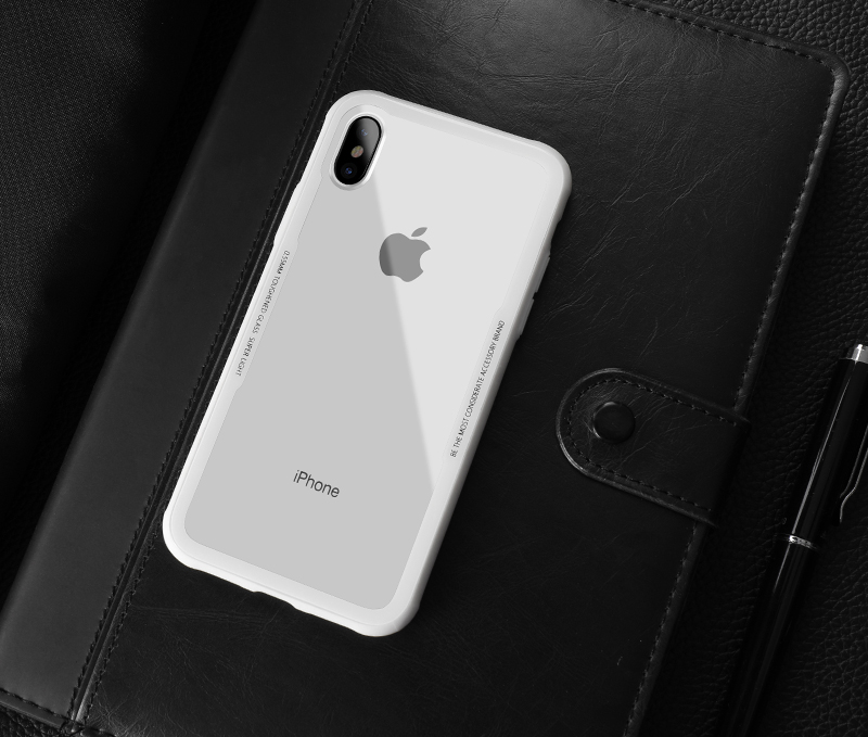 CAFELE New Original Phones Cases For iPhone X 10 Case soft TPU + Ultra Thin Transparent Glass Back Cover For iPhones X 10 Case (5)