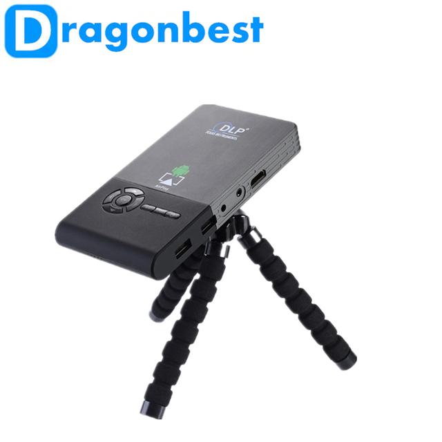 Lo nuevo Proyecto C2 Inteligente Bluetooth Mini Proyector Portátil Wifi Android 4.4 1G DDR 8G ROM HDMI TF USB Construido en 5000 mAh de La Batería