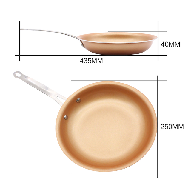 Non-stick Skillet Copper Red Pan Ceramic Induction Frying Pan