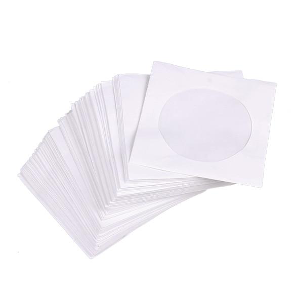 Mini 95pcs Protective White Paper CD DVD Disc Storage Bag Envelopes Flap Dustproof Anti Scratch CD DVD Protect Bag 8.5cm x 8.5cm ...
