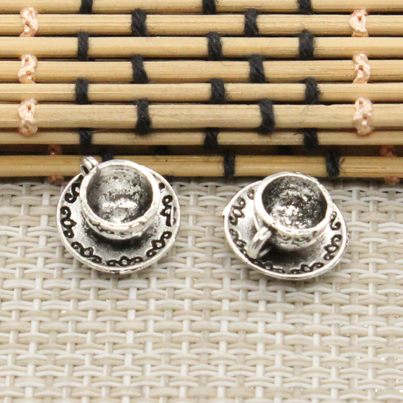 10pcs Charms a cup of coffee tea 14*14*7mm Tibetan Silver Plated Pendants Antique Jewelry Making DIY Handmade Craft