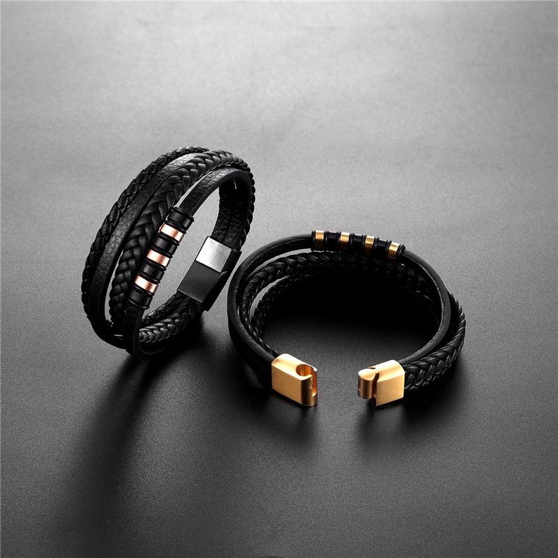 Wholesale Price Genuine Leather Bracelet Men Hand Charm Jewelry Multilayer Magnetic Buckle Handmade Gift For Cool Boys Pulsera