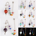 Fashion Natural stone Amethyst Opal Lapis Quartz Agate Silvery Metal Ball Chain Dowsing Healing Chakra Pendulum With Chain 1PCS