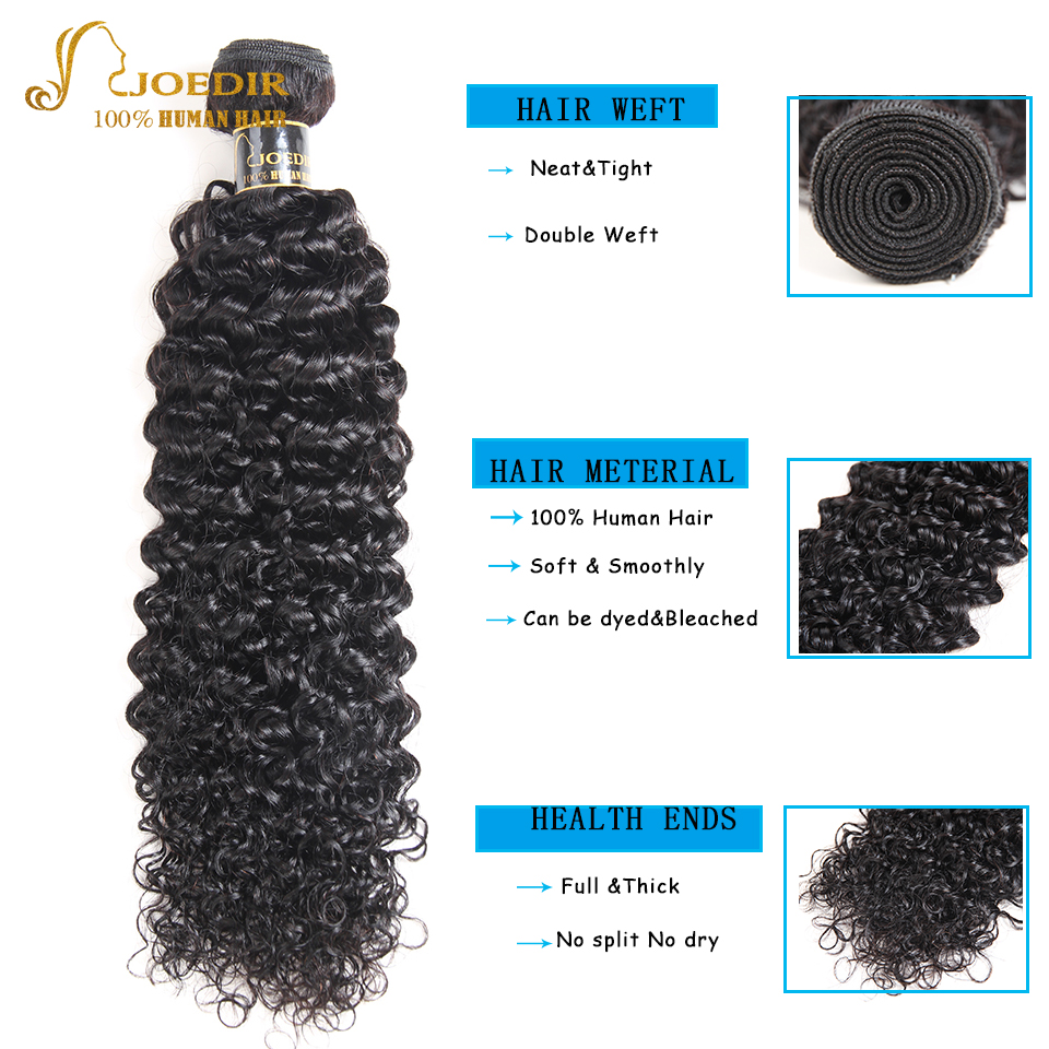 Joedir Hair Kinky Curly Bundles With Closure Brazilian Human Hair Weave 3 Bundles With Lace Closure Kinky Curly Hair Extension