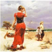 Home Garden - Home Decor - Large size Pino Daeni wall women oil painting on canvas Seaside Gathering art landscape modern decor home picture