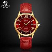 Ochstin Ladies Fashion Quartz Watch Women Leather Casual Dress Watch Red Relojes Mujer 2016 Montre Femme
