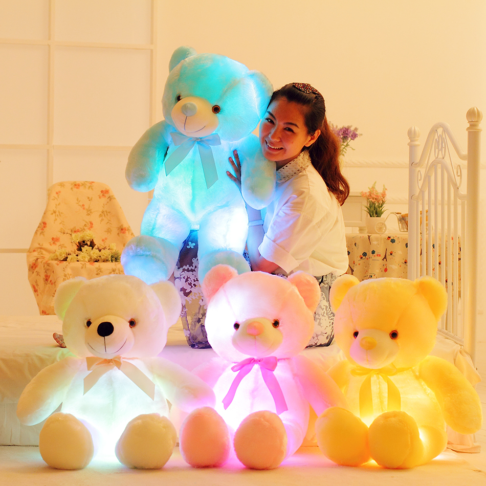 50cm Creative Light Up <font><b>LED</b></font> Teddy Bear Stuffed Animals Plush Toy Colorful Glowing Teddy Bear Christmas Gift for Kids <font><b>Pillow</b></font> Toy