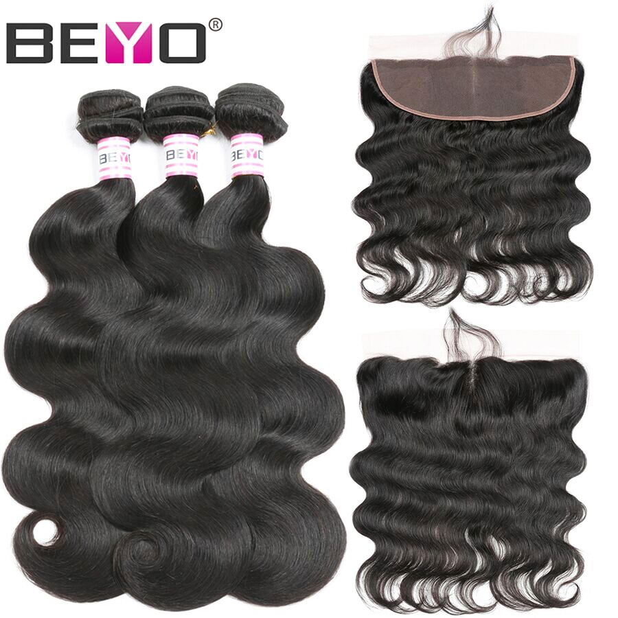 Beyo Ear To Ear Lace Frontal Closure With Bundles Peruvian Body Wave Human Hair Bundles With Closure 13