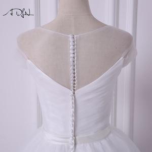 Image 5 - ADLN Einfache Sheer Neck Cap Sleeve Prinzessin Puffy Hochzeit Kleid Robe de Mariee A linie Tüll Weiß/Elfenbein Brautkleid angepasst