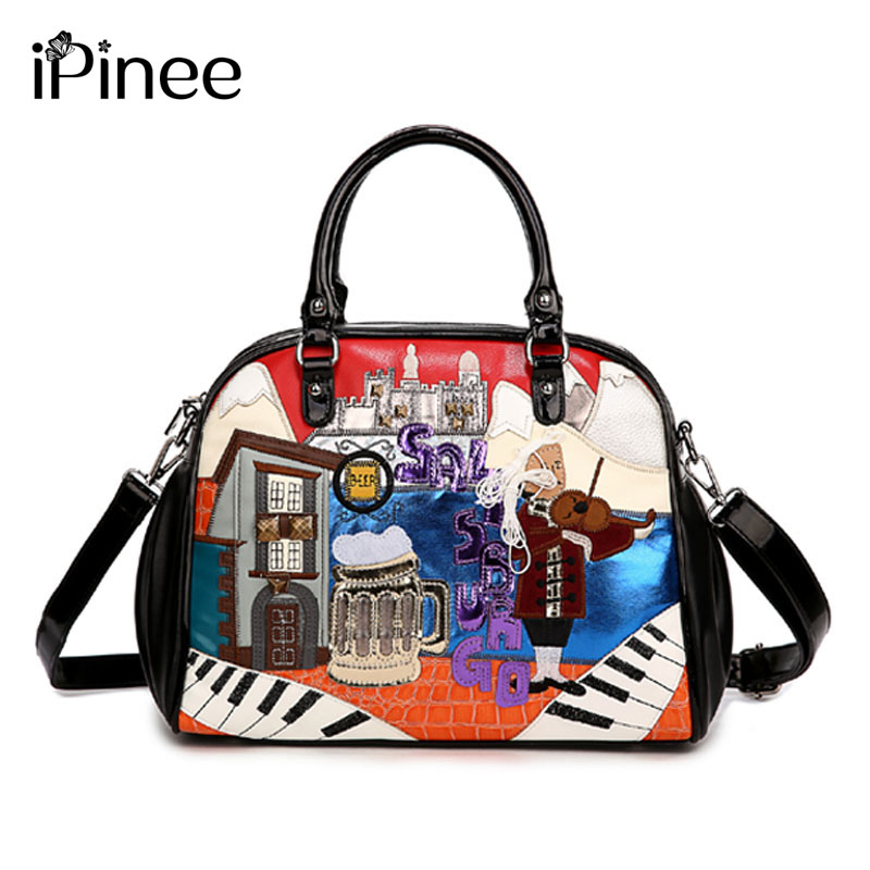iPinee New Candy Bags Cute And Cartoon Women Handbag Embroidered Shoulder Hand Bag Fashion Women's Purse