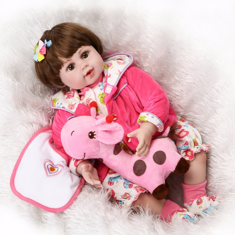 NPKCOLLECTION reborn doll with soft real gentle touch with cloth body vinyl silicone doll gift for your children on Birthday npkcollection victoria reborn baby soft real gentle touch full vinyl body wig hair doll gift for children birthday and christmas