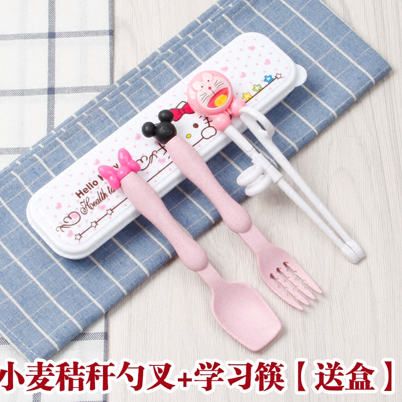 Fashion Tableware Cutlery Cookware Kitty Doraemon Party Gifts Stainless Steel for Child Learn To UseTableware Dinnerwear Sets