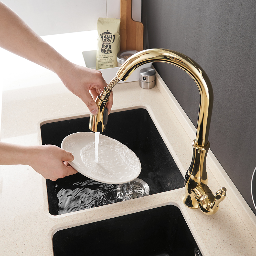Kitchen-Faucets Tap-Mixer Single-Hole-Handle Gold Silver Pull-Out Tap-866011 Swivel-Degree