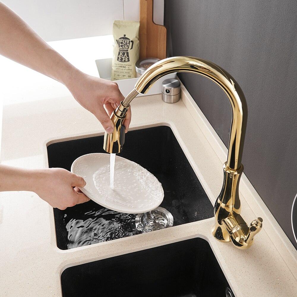 Robinets de cuisine argent poignée unique tirer robinet de cuisine unique trou poignée pivotant 360 degrés mélangeur d'eau robinet mélangeur 866011 - 2