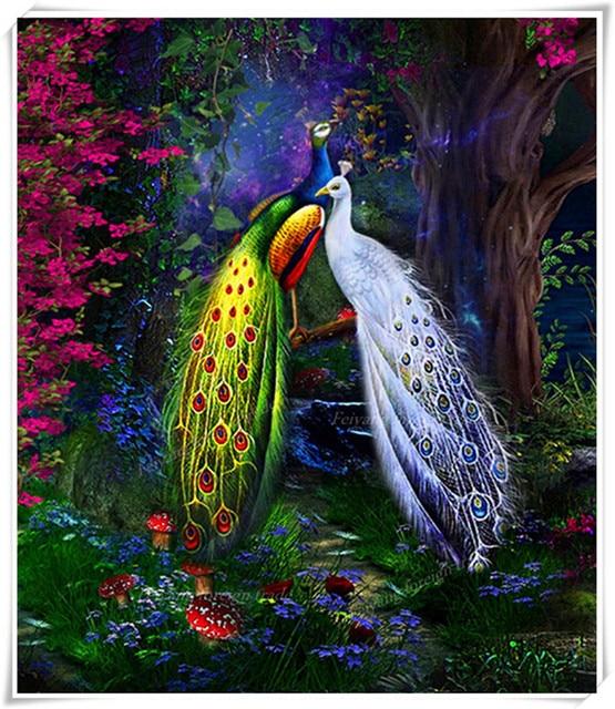 Berlian Bordir Burung Burung Merak Warna Berlian Mosaik Hewan