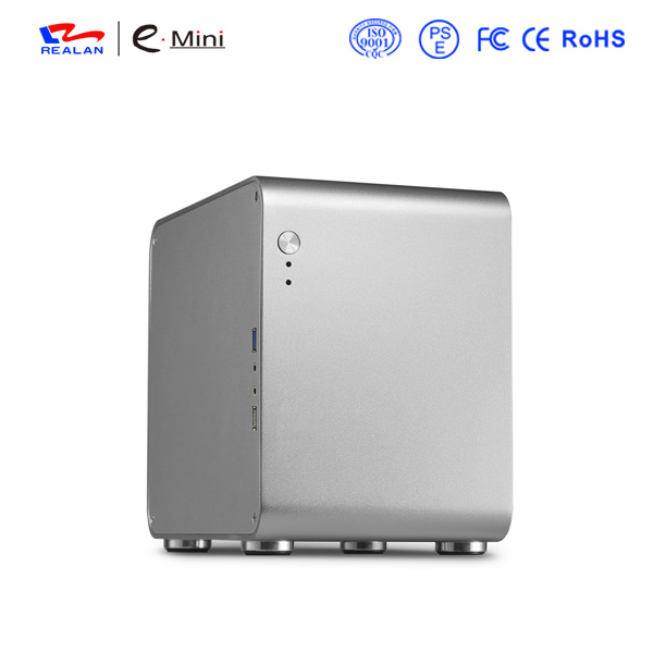 Realan black htpc computer case mini pc case aluminum  itx case realan tower case computer for body computer w60 with usb and 12v5a power supply