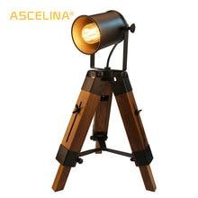 Настольная лампа ASCELINA, Креативный светодиодный светильник в американском ретро стиле, регулируемая Винтажная настольная лампа для спальни, гостиной, бара, кафе
