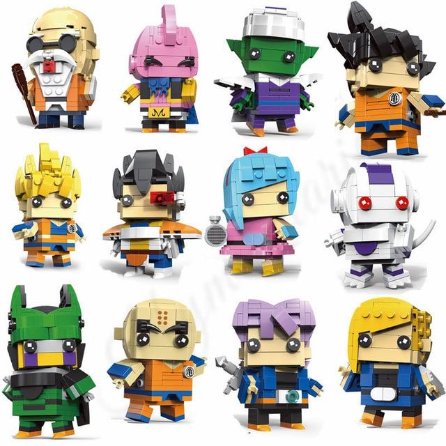 12 pcs Bonito Boneca Dragon Ball Z Super Saiyan Goku Action Figure Toy Dragonball Z BrickHeadz Building Blocks Brinquedos Para crianças