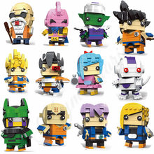 12 pcs Bonito Boneca Dragon Ball Z Super Saiyan Goku Action Figure Toy Dragonball Z BrickHeadz Building Blocks Brinquedos Para crianças(China)