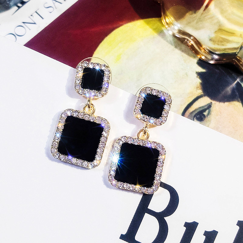 EK447 New Fashion Black Dazzling CZ Crystal Square Drop Earrings For Women Classic Rhinestone Earrings Jewelry Exquisite Gift