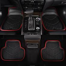 Car Floor Mats Black/Red Universal Fit Driver & Passenger Seat Ridged Heavy Duty Rubber Floor Car Mats(China)
