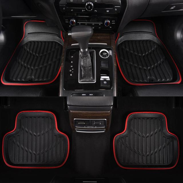 Car Floor Mats  Black/Red Universal Fit Driver & Passenger Seat Ridged Heavy Duty Rubber Floor Car Mats