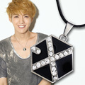 New Arrival Leather Cord EXO Choker Necklace South Korean Popular Combination Crystal Necklace EXO LUHAN KRIS TAO Necklace