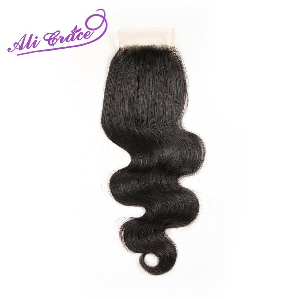 ФОТО Grace Hair Peruvian Body Wave Middle Free Part Lace Closure,1B Natural Black Color Peruvian Closure Body Wave Lace Closure