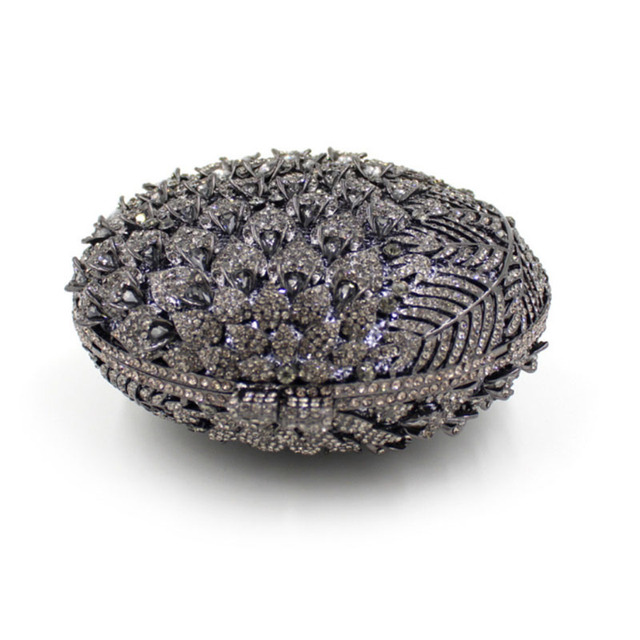 XIYUAN BRAND Black Crystal Ladies Clutches Bridal Wedding Purses Rhinestones Diamonds Women Evening Bags Metal Clutch Purse gift