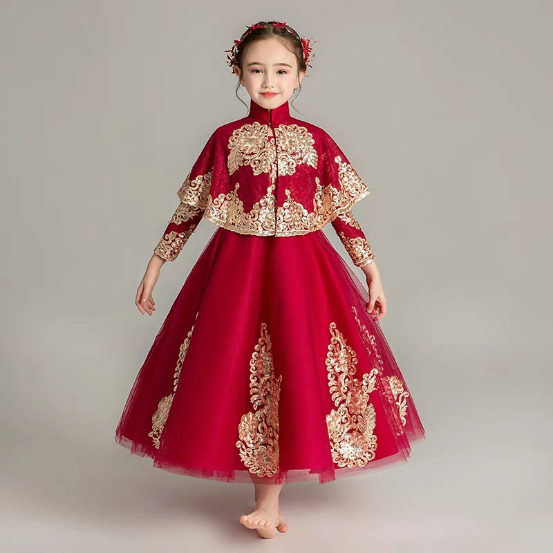 2018Good-Quality Chinese Style Children Girls Embroidery Lace Dress with Cape Baby Kids Birthday Princess Party Costume Dress2018Good-Quality Chinese Style Children Girls Embroidery Lace Dress with Cape Baby Kids Birthday Princess Party Costume Dress