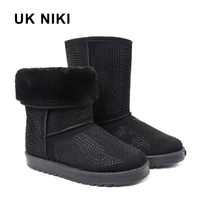 UKNIKI Flat Shoes Women Winter Boots Snow Boots Female Mid Calf Boots