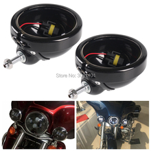 """4.5"""" 30W LED Fog Passing Lamp Auxiliary Driving Light Mount Bracket Bucket for Harley FLSTC Electra Glide Ultra Road King"""