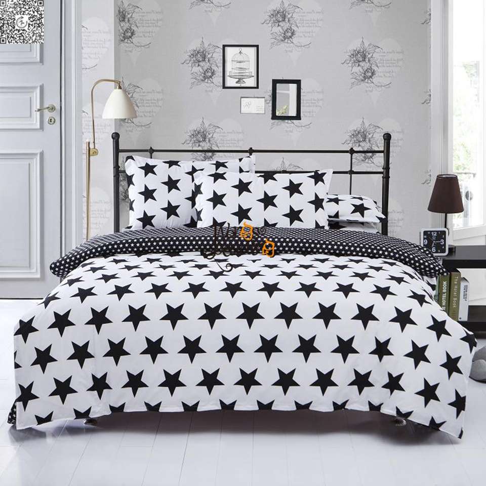Bed sheet set black and white - Home Textiles Polyester Black White Five Pointed Star 3pcs Bedding Sets Bed Linen Bed Sheet Duvet