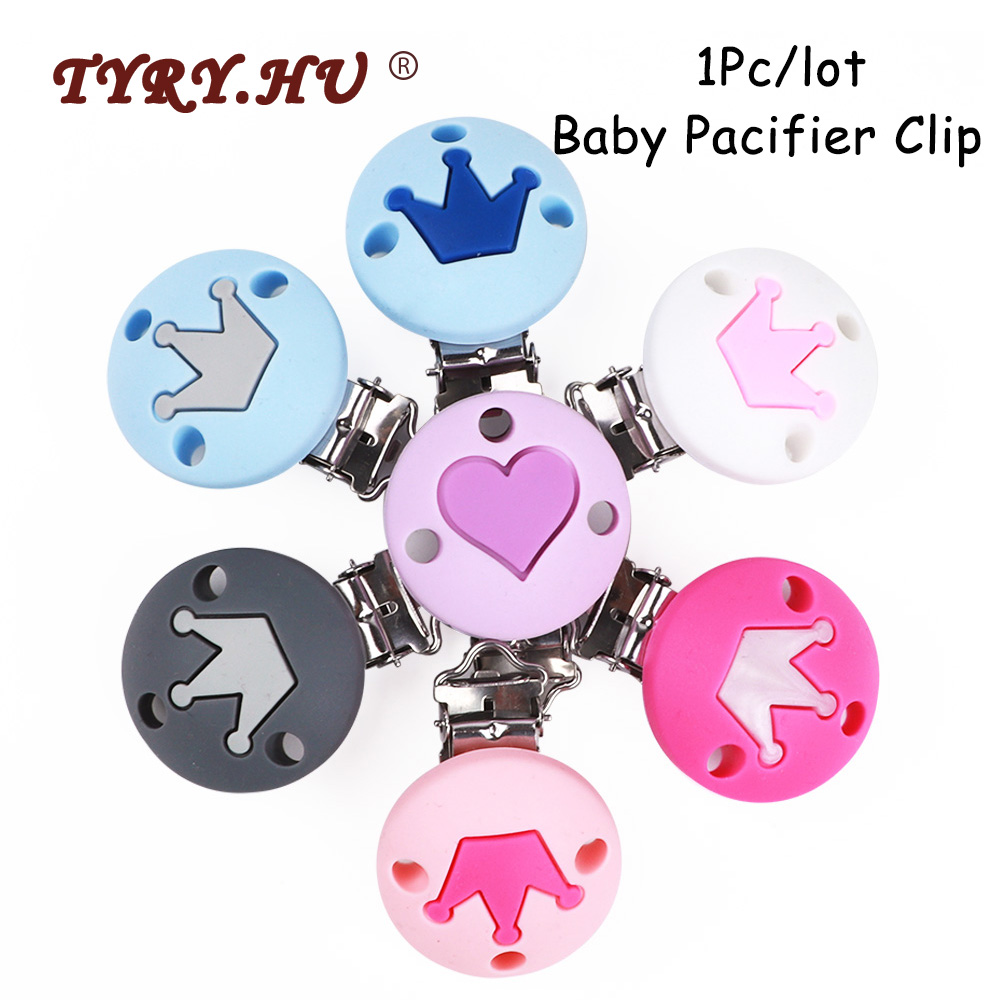 TYRY.HU 1pc/lot Round Crown Pacifier Clip Teething Toys  Silicone Bead DIY Baby Pacifier Chain Accessories BPA Free Baby Teether