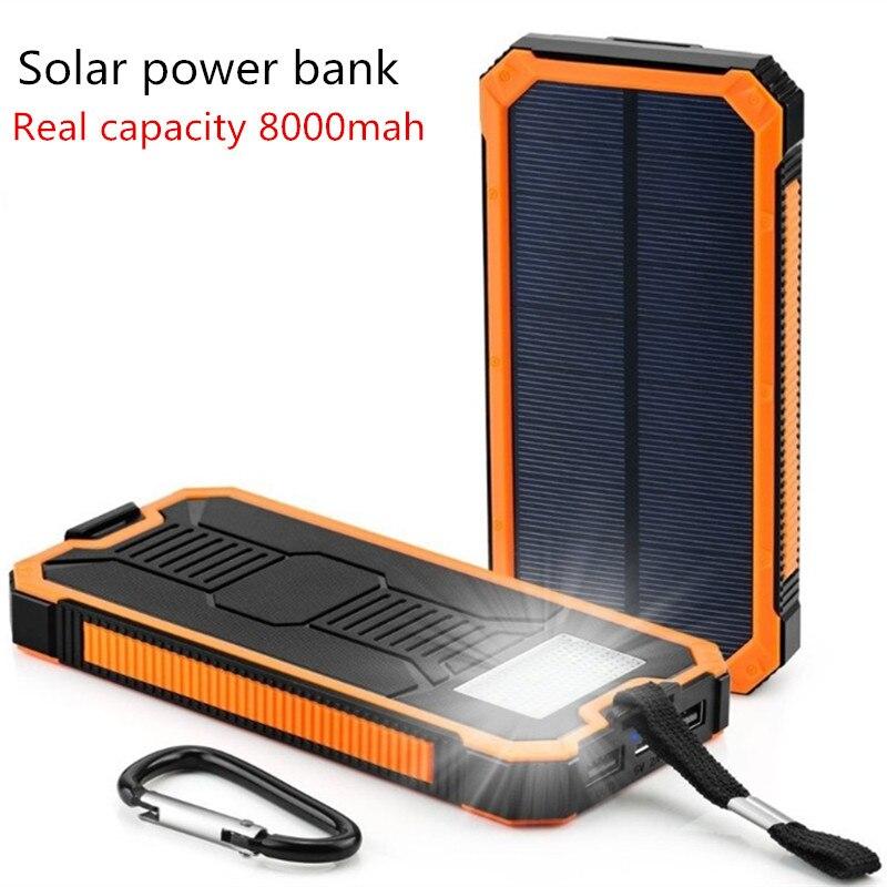 imágenes para Solar Poverbank Teléfono Móvil Banco Portable Externo del Cargador de Batería Móvil Solar 10000 mah Universal para al aire libre