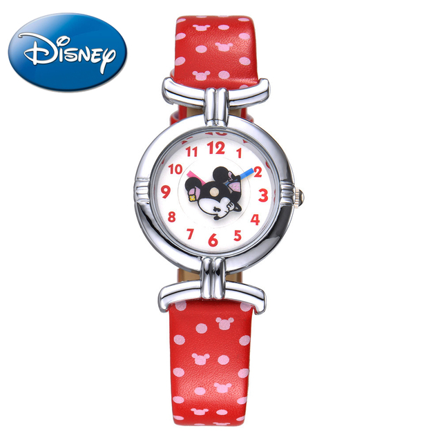NEW Disney cartoon MINNIE cute color leather quartz watch Clever girl fashion Kids lovely simple watches Mickey mouse 54053 time