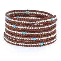 Lotus Mann 925 argent particules bleu attune avec cinq tours brun couleur en cuir cordon bracelet 0825