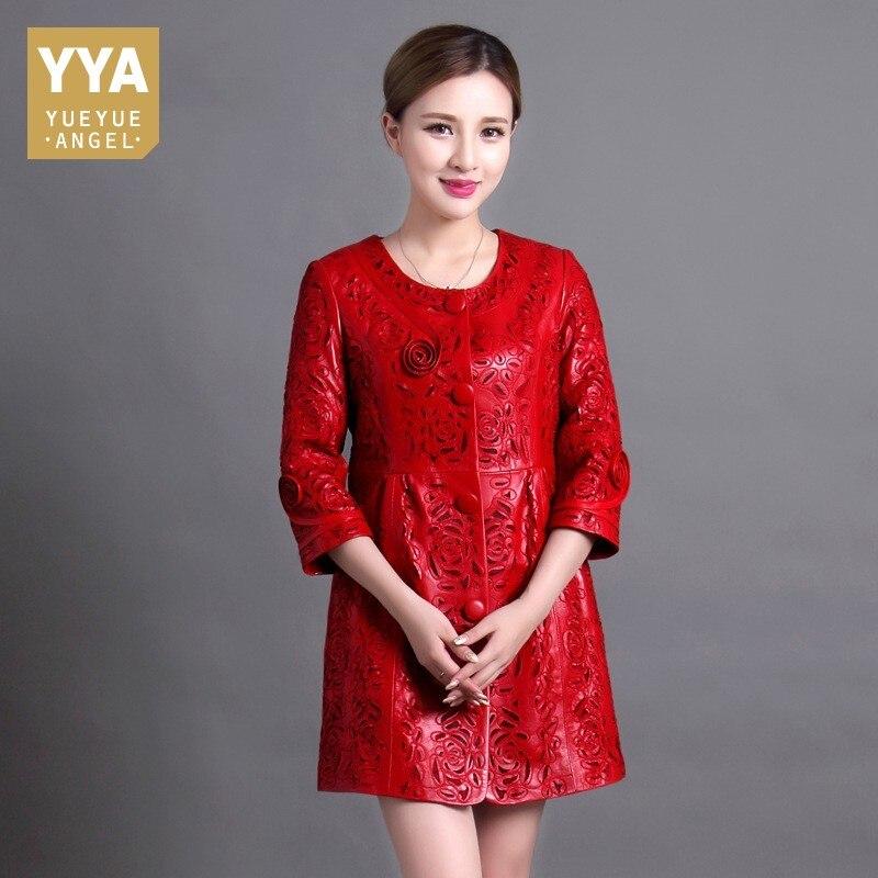 Plus Size 6XL 100% Sheepskin Womens Jacket Spring Autumn Red Long Coat Sheepskin Female Hollow Embroidery Leather Jackets Ladies