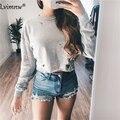 2016 Buracos Outono T Shirt Mulheres Moda Rasgado Sexy Algodão Manga Comprida Tops Camisas Casual Solta T-Shirt Camiseta Mujer