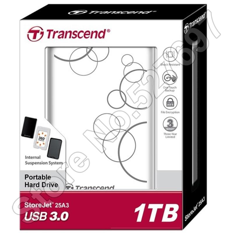 Transcend StoreJet 25A3 SuperSpeed USB 3.0 Hard Disk Drive 1TB HDD External Storage Portable Storage Shock-resistant Auto-Backup transcend transcend storejet 1тб usb 3 0 ts1tsj25m3