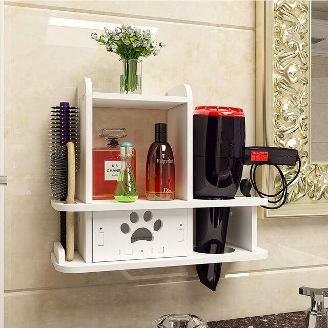 Półka ścienna w uchwyt łazienkowy do suszarki do włosów półka toaletowa bezpłatny stojak do kąpieli Estante Prateleira De Parede akcesoria łazienkowe