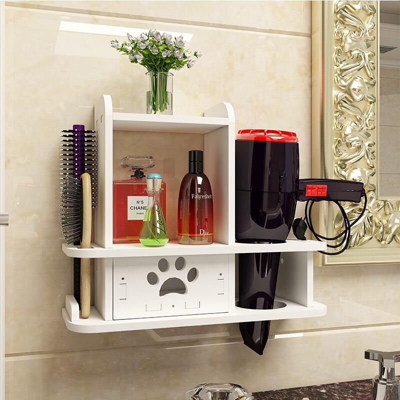 Prateleira de parede no banheiro titular para secador cabelo prateleira do banheiro prego livre banho rack estante prateleira de parede acessórios do banheiro