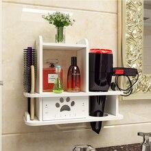 Prateleira de parede para secador de cabelo, prateleira para banheiro sem unhas para secador de cabelo, acessórios de parede