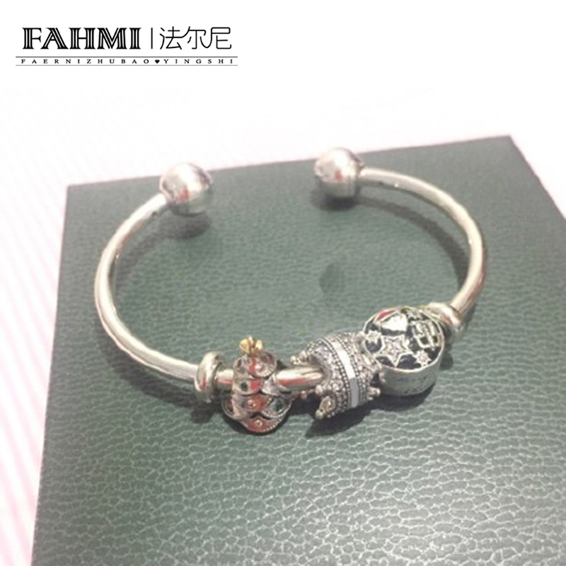 FAHMI 100% 925 Sterling Silver Christmas Tree Santa Claus Stars Snowflake Glamour Bracelet Set Holiday Gift Original Jewelry christmas candy santa claus snowflake choker dress