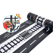 Estrada de ferro fita 48mmx5m tráfego estrada pista cena washi fita adesivo mascaramento papel etiqueta estrada para crianças brinquedo carro jogar