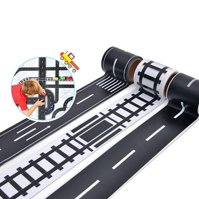 Железная дорога лента 48mmX5m дорожного движения трек-сцена лента Washi Стикеры клей малярный Бумага этикетка дорожного движения для детей игруш...
