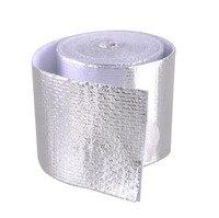 1 pçs adesivo reflexivo ouro/tira 5cm de alta temperatura fibra de vidro calor escudo envoltório fita rolo barreira para carro caminhão motocicleta|Algodão de isolamento térmico e acústico| |  -