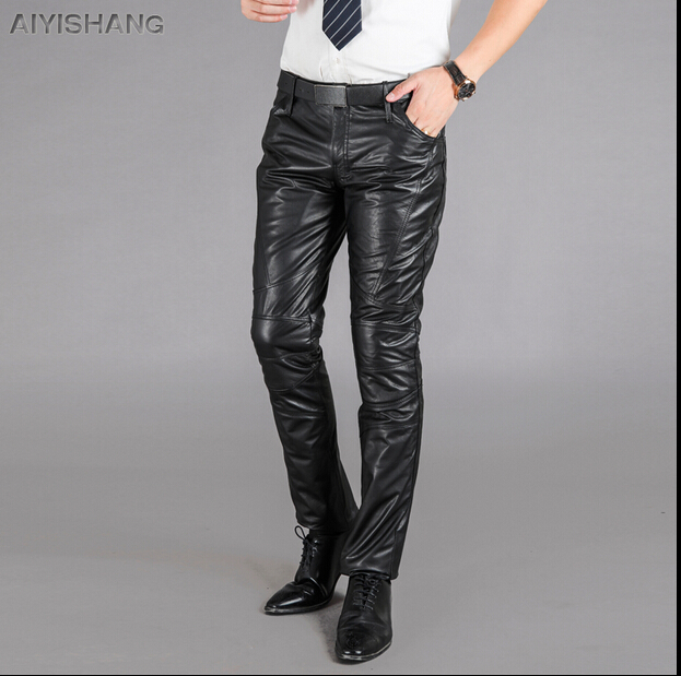 men genuine motorcycle leather pants plus size trousers
